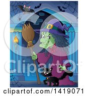 Clipart Of A Witch And Cat Walking In A Hallway Royalty Free Vector Illustration by visekart