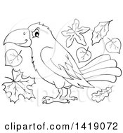 Clipart Of A Black And White Lineart Crow Bird With Autumn Leaves Royalty Free Vector Illustration