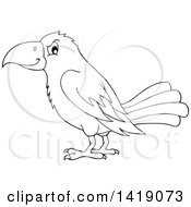 Clipart Of A Black And White Lineart Crow Bird In Profile Royalty Free Vector Illustration by visekart