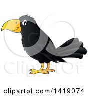Clipart Of A Black Crow Bird In Profile Royalty Free Vector Illustration