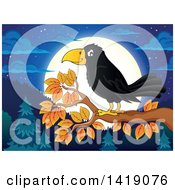Clipart Of A Black Crow Bird On A Tree Branch Against A Full Moon At Night Royalty Free Vector Illustration by visekart