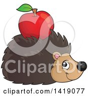 Clipart Of A Happy Hedgehog With An Apple On Its Back Royalty Free Vector Illustration