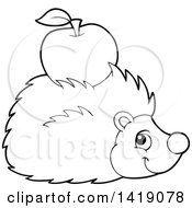 Clipart Of A Black And White Lineart Happy Hedgehog With An Apple On Its Back Royalty Free Vector Illustration by visekart
