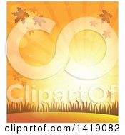 Clipart Of A Background Of An Orange Autumn Sunset With Falling Leaves And Grass Royalty Free Vector Illustration
