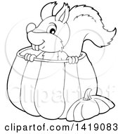 Clipart Of A Black And White Lineart Happy Squirrel In A Pumpkin Royalty Free Vector Illustration by visekart