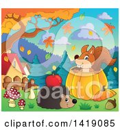 Clipart Of A Happy Hedgehog With An Apple On Its Back By A Squirrel In A Pumpkin In An Autumn Yard Royalty Free Vector Illustration by visekart