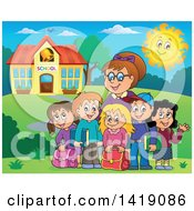 Clipart Of A Happy Female Teacher And Students Outside A School Building Royalty Free Vector Illustration by visekart
