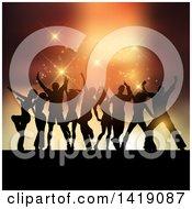 Clipart Of A Background Of Silhouetted Party People Dancing And Flares Royalty Free Vector Illustration