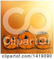 Clipart Of 3d Halloween Jackolantern Pumpkins On An Orange Background Royalty Free Illustration