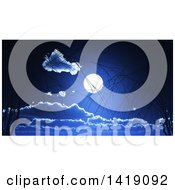 Clipart Of A Full Moon In A Night Sky With Silhouetted Bare Tree Branches Royalty Free Illustration