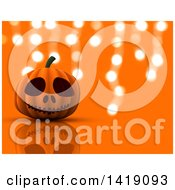 Clipart Of A 3d Halloween Jackolantern Pumpkin Over Orange With Hanging Lights Royalty Free Illustration
