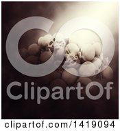 Poster, Art Print Of 3d Pile Of Human Skulls In Dramatic Lighting