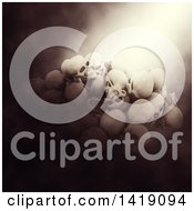 Clipart Of A 3d Pile Of Human Skulls In Dramatic Lighting Royalty Free Illustration