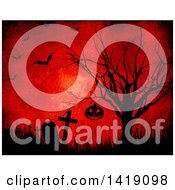 Clipart Of Silhouetted Halloween Jackolantern Pumpkin Hanging From A Bare Tree In A Cemetery On Red With Flying Bats Royalty Free Illustration