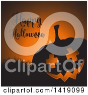 Clipart Of A Happy Halloween Greeting With A Silhouetted Jackolantern Pumpkin With Cross Eyes And Grass On Orange Royalty Free Vector Illustration