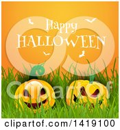 Clipart Of A Happy Halloween Greeting With White Bats Over Pumpkins And Grass On Orange Royalty Free Vector Illustration