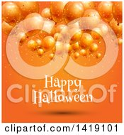 Clipart Of A Happy Halloween Greeting Under 3d Party Balloons On Orange Royalty Free Vector Illustration by KJ Pargeter