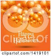 Happy Halloween Greeting Under 3d Party Balloons On Orange