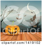Clipart Of A Halloween Jackolantern Pumpkin On A Deck Against A Haunted Castle Mountains And Bats Royalty Free Vector Illustration