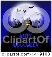 Clipart Of A Happy Halloween Greeting Under A Silhouetted Jackolantern Pumpkin In A Cemetery With A Full Moon Trees And Bats In A Cemetery Royalty Free Vector Illustration
