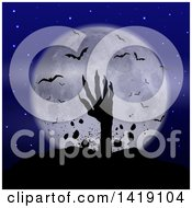Clipart Of A Silhouetted Zombie Hand Rising From The Grave Against A Full Moon With Vampire Bats Royalty Free Vector Illustration by KJ Pargeter