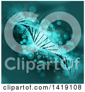 Clipart Of A Background Of A 3d Diagonal Dna Strand In Green With Magic Flares Royalty Free Illustration
