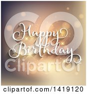 Clipart Of A White Happy Birthday Greeting Over Flares Royalty Free Vector Illustration