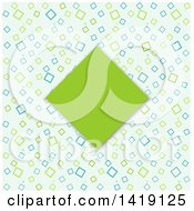 Clipart Of A Green Diamond Frame Over A Retro Pattern Royalty Free Vector Illustration