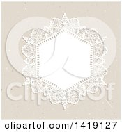 Clipart Of A White Doily Frame Over A Vintage Texture Royalty Free Vector Illustration