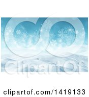 Clipart Of A 3d Snowy Winter Landscape With Snowflakes Royalty Free Illustration