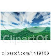 3d Hilly Grassy Landscape Under A Sky With Dramatic Clouds