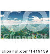 Clipart Of A 3d Landscape Of A Poppy Field Royalty Free Illustration by KJ Pargeter