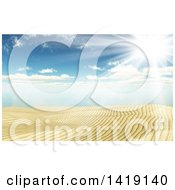 3d Sandy Beach And Ocean Under A Sunny Sky