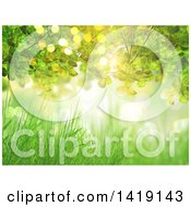 Clipart Of A 3d Grass And Leaf Background With Flares Royalty Free Illustration by KJ Pargeter