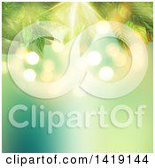 Clipart Of A Background Of 3d Leaves Against Blur Royalty Free Illustration by KJ Pargeter