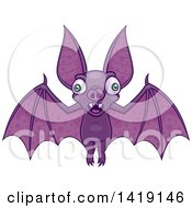 Clipart Of A Cartoon Wacky Flying Vampire Bat Royalty Free Vector Illustration by John Schwegel
