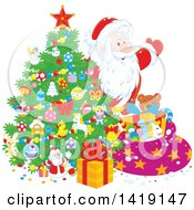 Clipart Of Santa Putting Gifts Under A Christmas Tree Royalty Free Vector Illustration