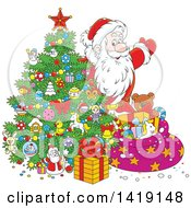 Clipart Of A Cartoon Santa Claus Putting Gifts Under A Christmas Tree Royalty Free Vector Illustration by Alex Bannykh