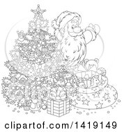 Clipart Of A Cartoon Black And White Lineart Santa Claus Putting Gifts Under A Christmas Tree Royalty Free Vector Illustration