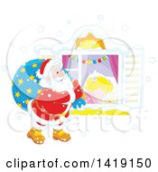 Clipart Of A White Girl Sleeping On Christmas Eve While Santa Peeks In Her Window Royalty Free Vector Illustration