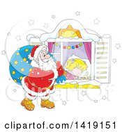 Clipart Of A Caucasian Girl Sleeping On Christmas Eve While Santa Peeks In Her Window Royalty Free Vector Illustration