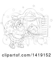 Clipart Of A Black And White Lineart Girl Sleeping On Christmas Eve While Santa Peeks In Her Window Royalty Free Vector Illustration