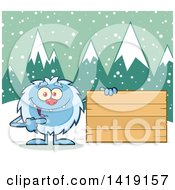Clipart Of A Cartoon Yeti Abominable Snowman Pointing To A Blank Wood Sign Royalty Free Vector Illustration