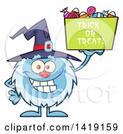 Cartoon Yeti Abominable Snowman Wearing A Witch Hat And Trick Or Treating On Halloween