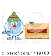 Clipart Of A Cartoon Yeti Abominable Snowman Wearing A Hat And Pointing To A Welcome Sign Royalty Free Vector Illustration