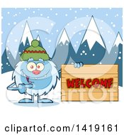 Cartoon Yeti Abominable Snowman Wearing A Hat And Pointing To A Welcome Sign