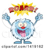 Clipart Of A Cartoon Yeti Abominable Snowman Roaring Royalty Free Vector Illustration
