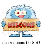 Cartoon Yeti Abominable Snowman Holding A Welcome Sign