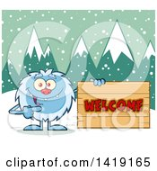 Clipart Of A Cartoon Yeti Abominable Snowman Pointing To A Welcome Sign Royalty Free Vector Illustration by Hit Toon
