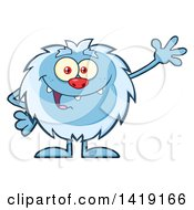 Clipart Of A Cartoon Yeti Abominable Snowman Waving Royalty Free Vector Illustration
